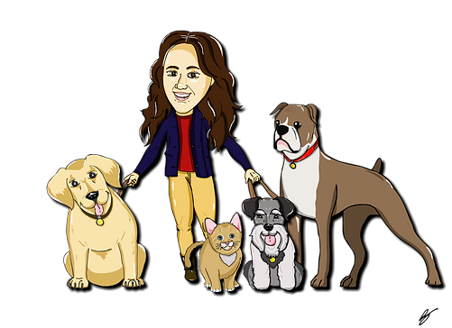 Cartoon drawing of Olivia Poulin walking dogs.