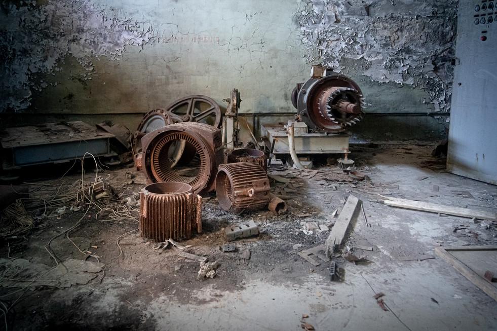 Machinerie d'assenceur, dans un immeuble d'habitations