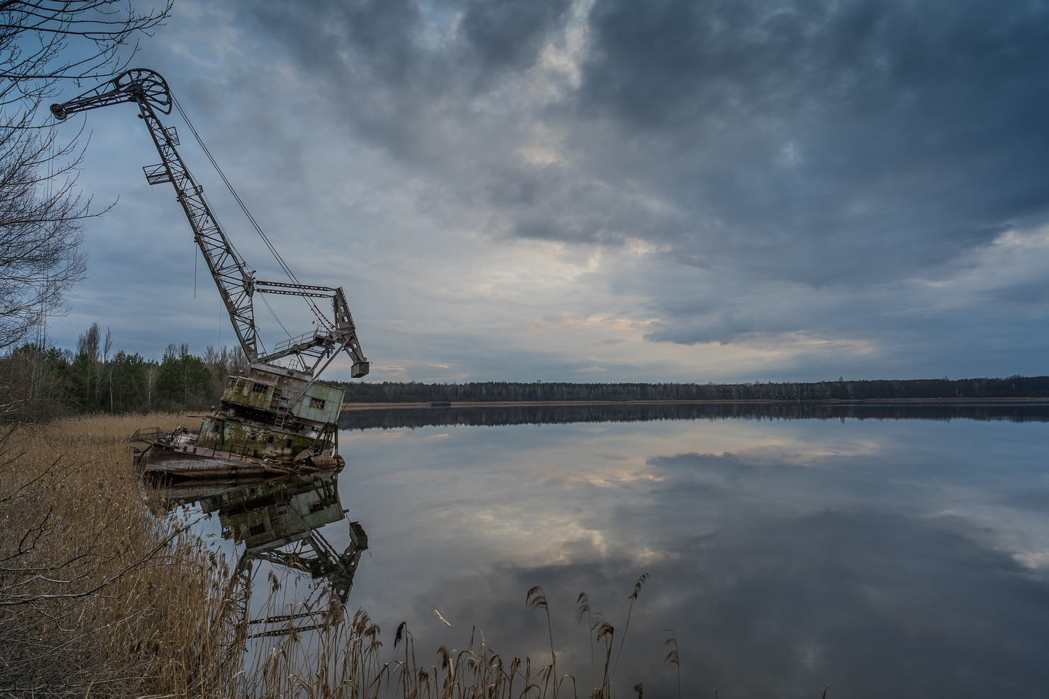 Grue dans le port de Pripyat