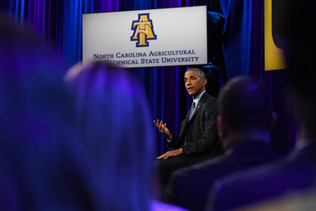 "Obama Visits NC A&T For ""A Conversation With The President"""