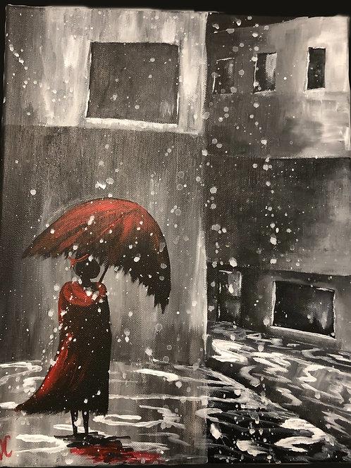 Red Girl in the Rain