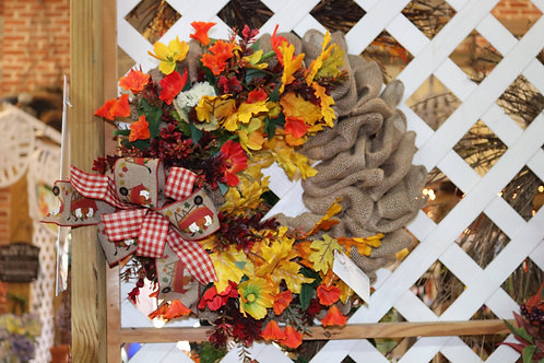 Fall burlap wreath w/fall flowers and bow