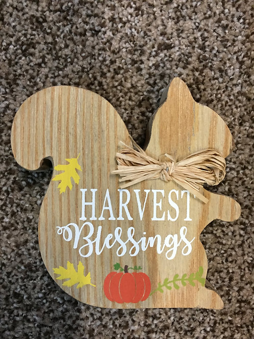 Harvest Blessings-wooden Squirrel