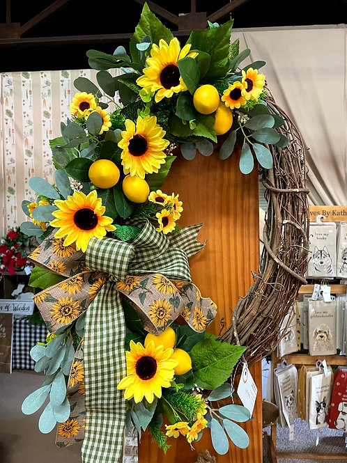 Skinny Grapevine wreath with sunflowers