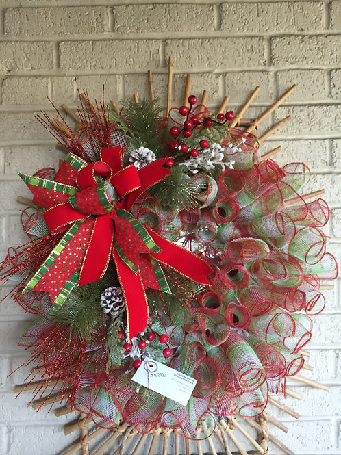 Green and Red Geo wreath w/red bow