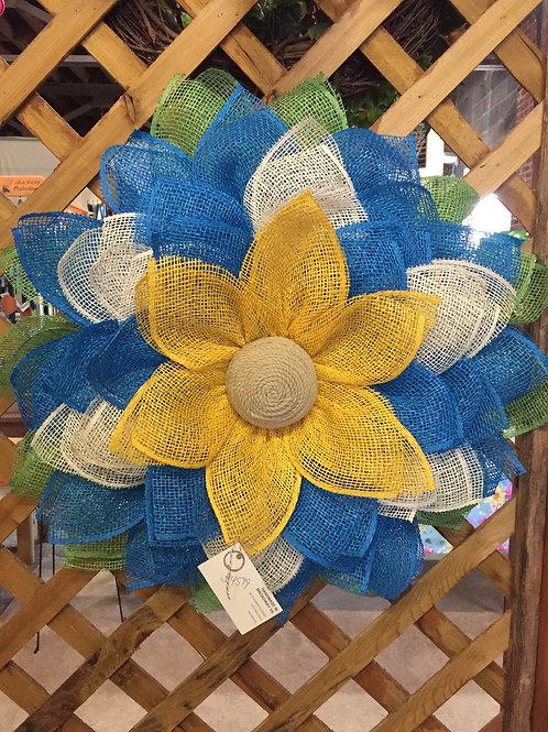 Blue and Gold burlap sunflower wreath
