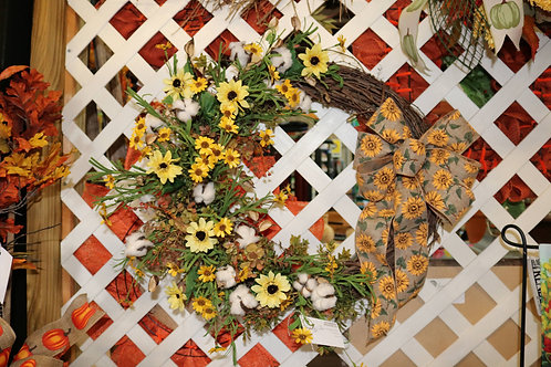 Fall grapevine wreath w/sunflowers & cotton balls