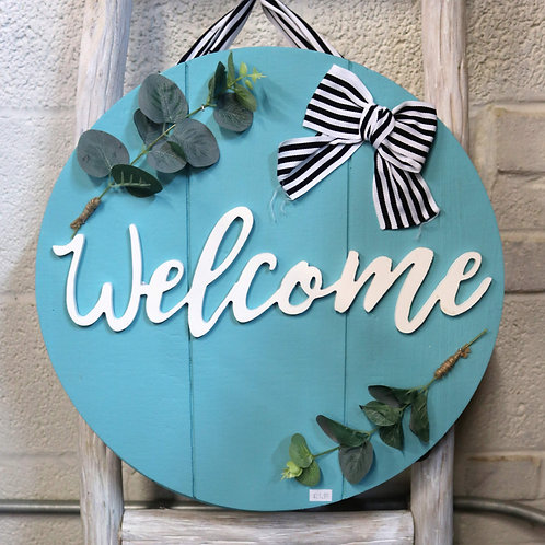 Wooden Turquoise Welcome Sign