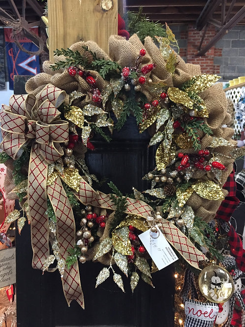 Gold and Berries Christmas Wreath