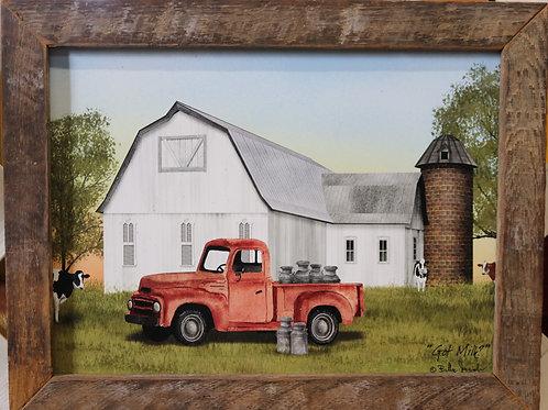 Red Truck hauling milk w/wooden frame