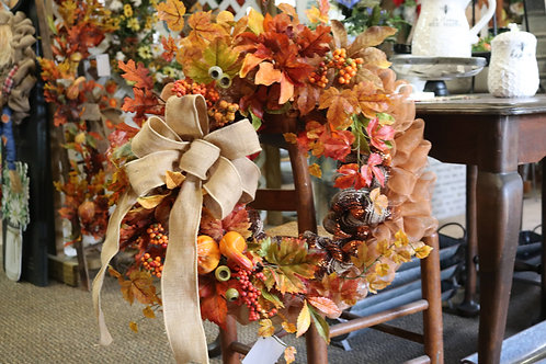 Fall wreath w/ leaves and gourds