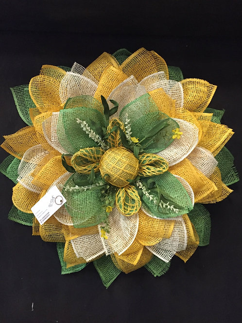 Green and Gold burlap sunflower wreath