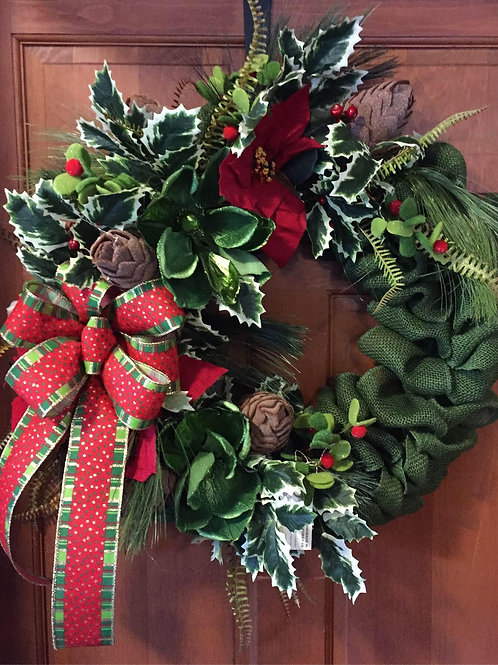 Green burlap wreath w/Holly