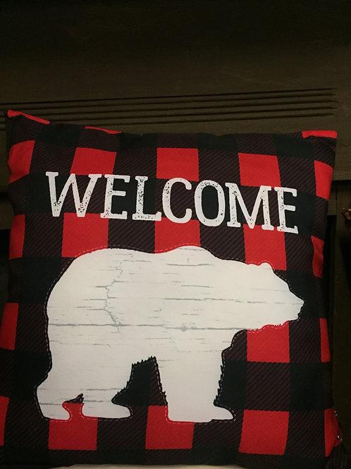 Buffalo Plaid Bear Pillow