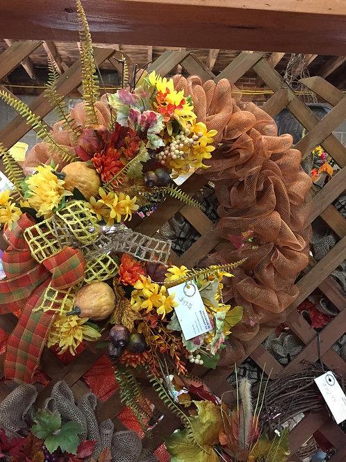 Orange Mesh wreath w/ fall flowers