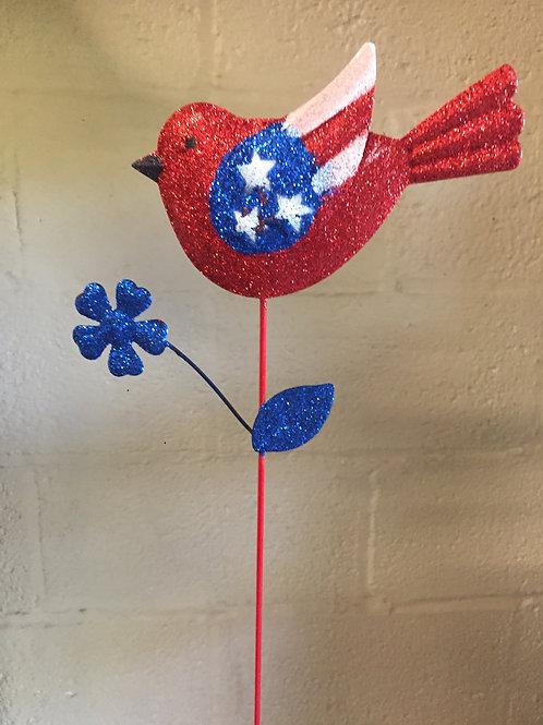 Patriotic Bird metal stake