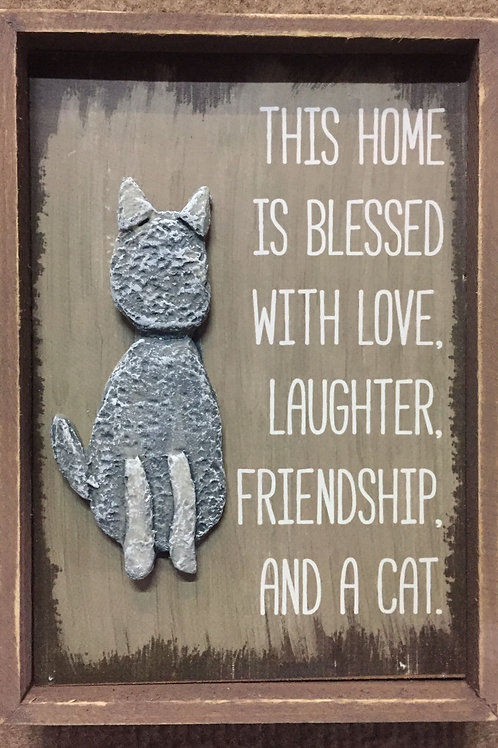 """""""This home is blessed with"""" sign w/wooden frame"""