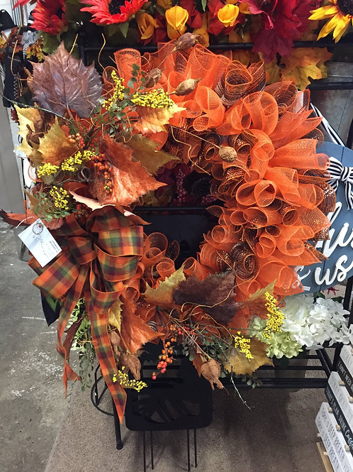 Orange Mesh Wreath w/leaves