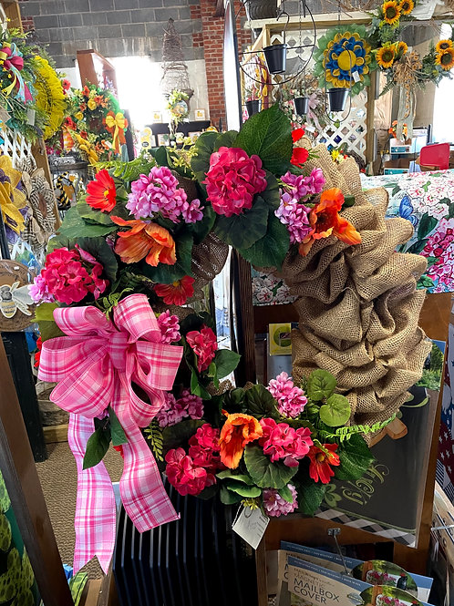 Burlap wreath with flowers and pink bow