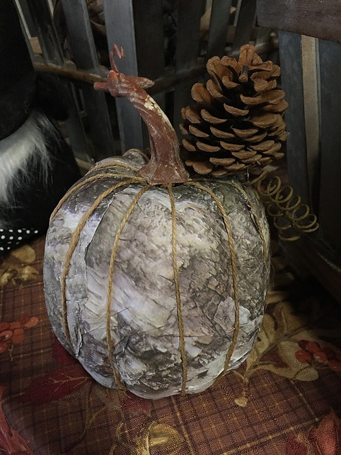 Camo pumpkin w/pine cone