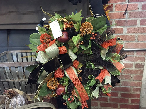 Green & Black Fall wreath