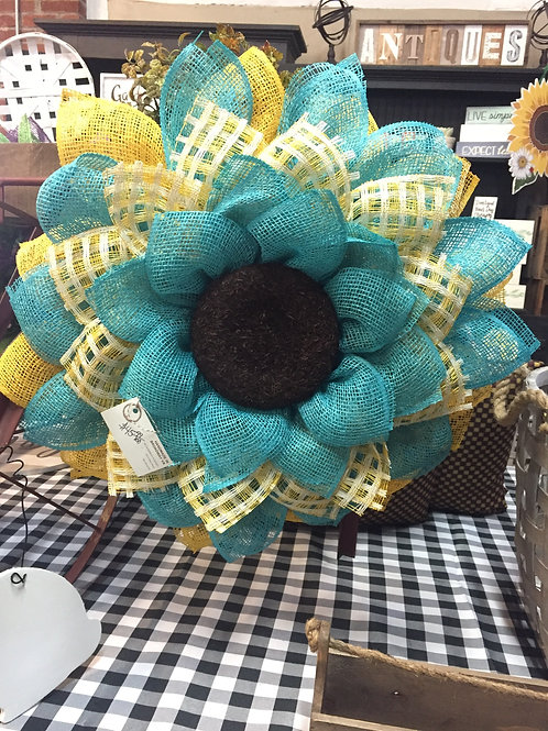 Blue and Yellow flower wreath