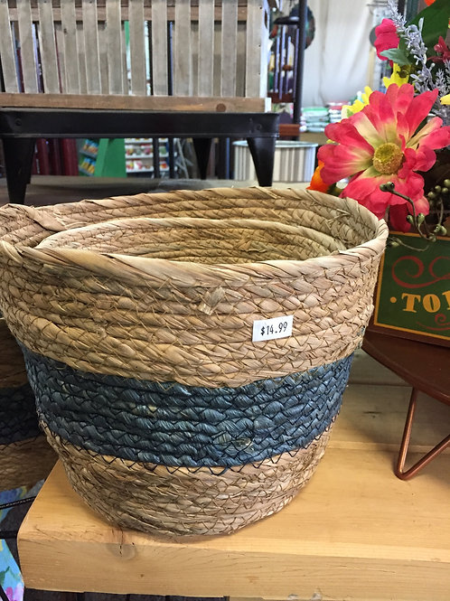 Natural Basket w/Blue Stripe