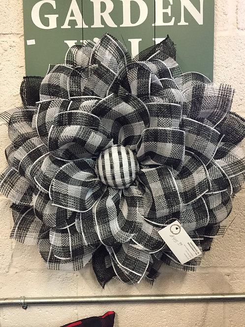 Black and White checkered sunflower wreath