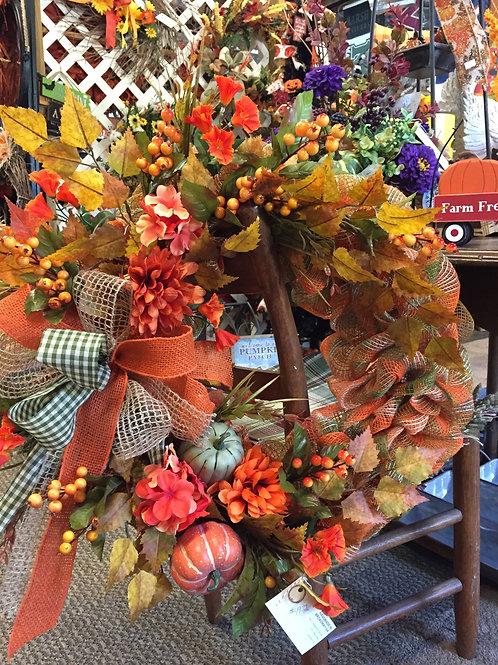 Orange & Green Mesh Fall Wreath w/leaves & gourds