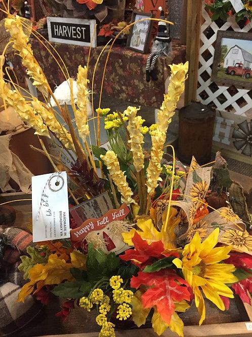 "Fall Table Arrangement w/ ""Happy Fall Y'all"" stake."