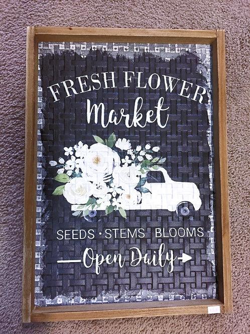 "Wooden ""Fresh Flower Market"" sign"