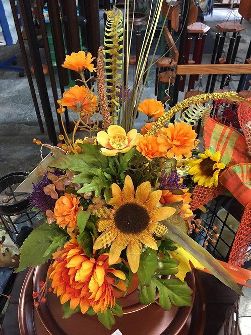 Fall Table Arrangement w/Sunflower