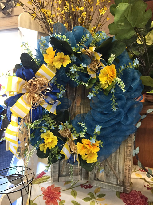 Blue Geo wreath with yellow