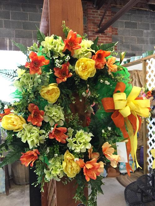 Poppy and Peonies wreath