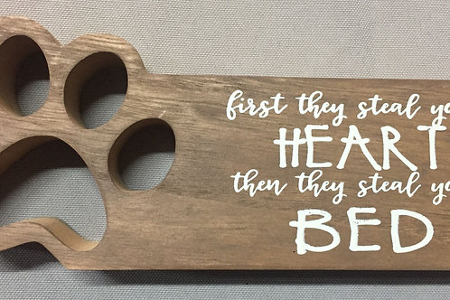 """""""First they steal your heart"""" wooden shelf sitter"""