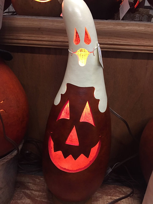 Meadowbrooke Gourd-Ghost and Jack-O-Lantern. Lighted
