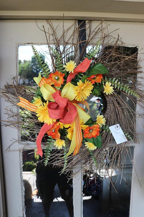 Fall grapevine wreath w/mums