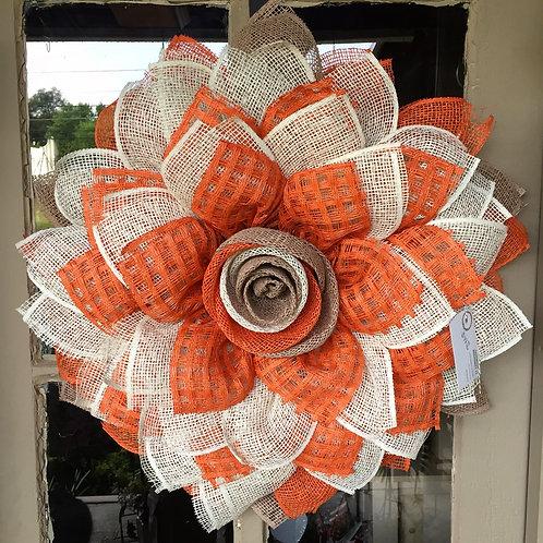 Fall burlap orange & tan wreath