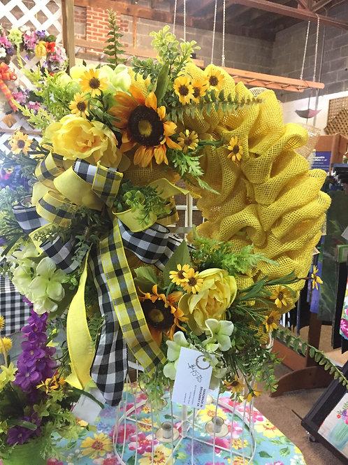 Yellow burlap spring wreath w/ sunflowers