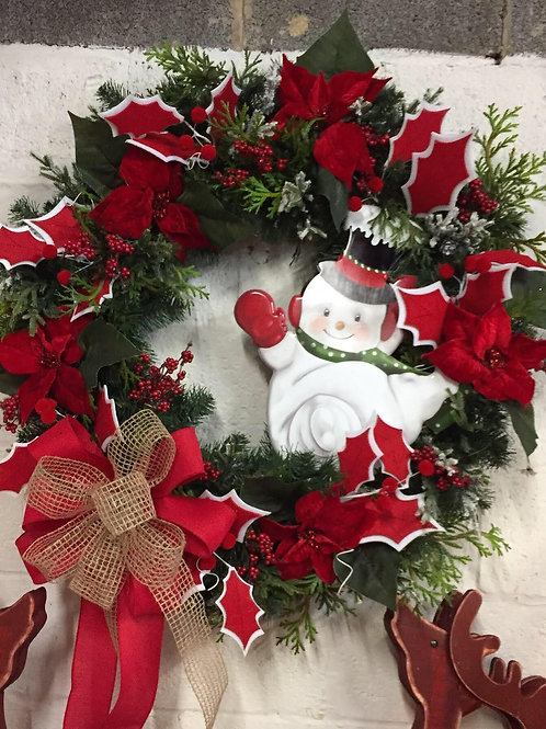 XL Snowman wreath w/ poinsettias