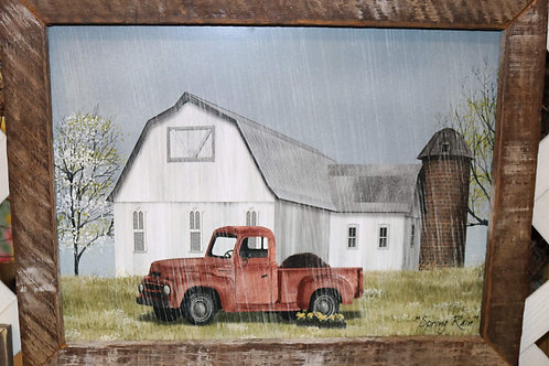 Red Truck w/spring flowers picture w/wooden frame