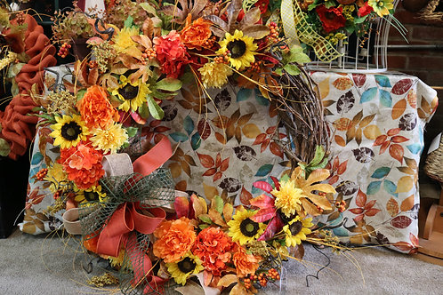 Extra Large Fall Grapevine wreath w/sunflowers