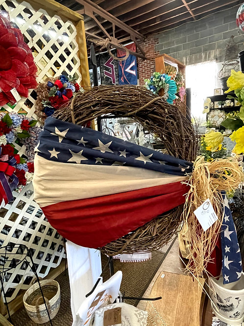 Grapevine wreath with American flag wrap