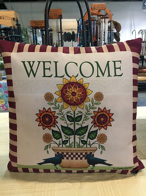 Welcome Pillow with sunflowers