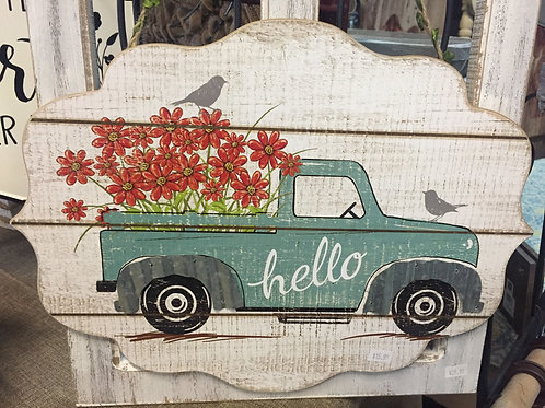 Wooden truck sign w/ flowers