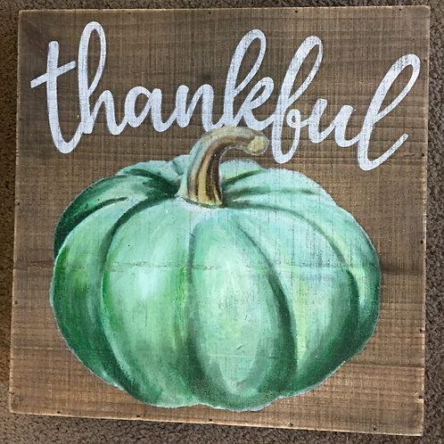 Thankful-Green Pumpkin sign