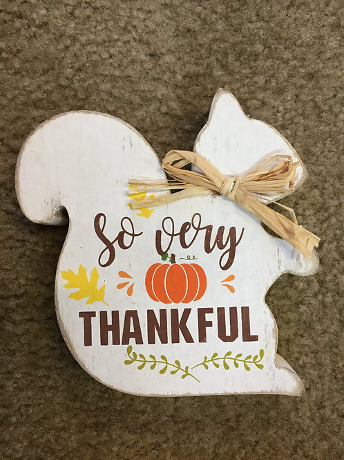 So Very Thankful-wooden Squirrel