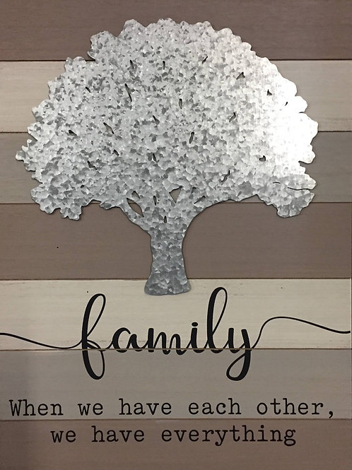 Wooden Family sign w/ Metal tree