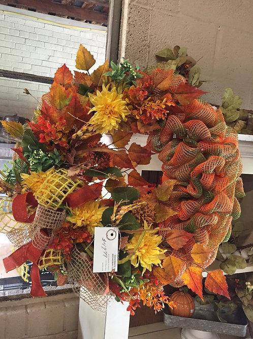 Orange & Green Mesh Fall wreath w/fall flowers