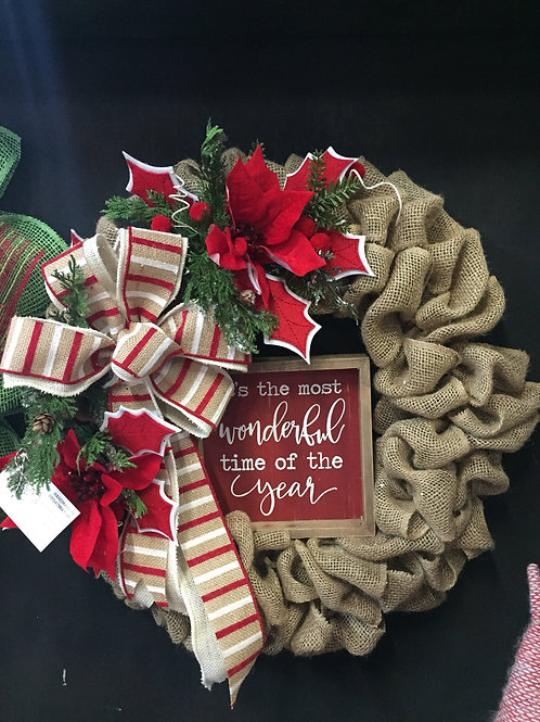 Its The Most Wonderful Time Of The Year Burlap Wreath
